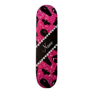 Personalized name rose pink glitter vampire skate decks
