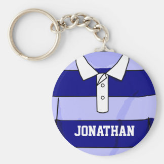 Personalized name rugby jersey blue and light blue key ring