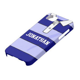 personalized name rugby jersey blue hoops iPhone 5 case