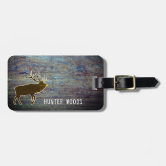 Personalized Name | Rustic Wood Elk for Him Luggage Tag