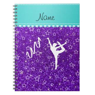 Personalized name rythmic gymnast purple glitter notebook