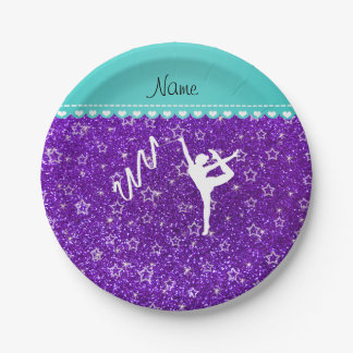 Personalized name rythmic gymnast purple glitter paper plate
