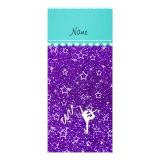 Personalized name rythmic gymnast purple glitter rack card