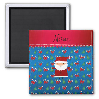 Personalized name santa blue candy canes bows square magnet