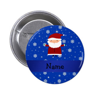 Personalized name santa blue snowflakes 6 cm round badge