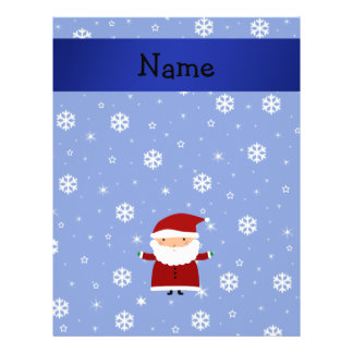 Personalized name santa blue snowflakes flyers