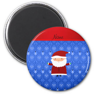 Personalized name santa blue snowman trellis 6 cm round magnet