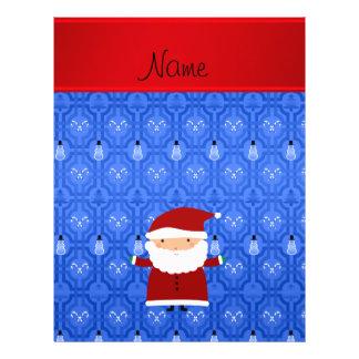 Personalized name santa blue snowman trellis flyer design