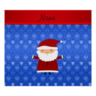Personalized name santa blue snowman trellis poster
