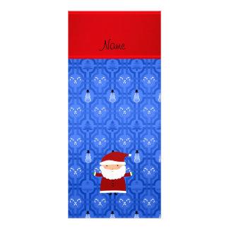 Personalized name santa blue snowman trellis customized rack card
