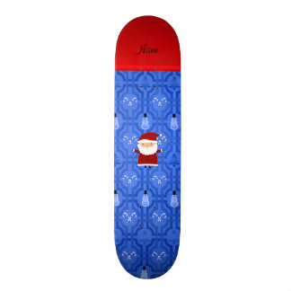 Personalized name santa blue snowman trellis skate board