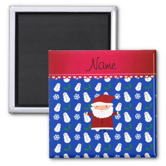 Personalized name santa blue snowmen holly square magnet
