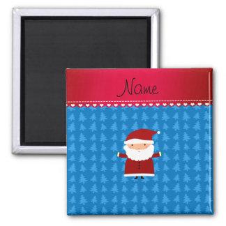 Personalized name santa blue trees square magnet