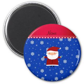 Personalized name santa blue white snowflakes 6 cm round magnet