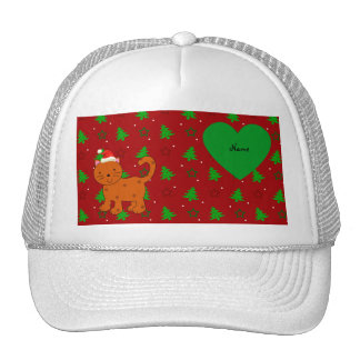 Personalized name santa cat red christmas trees trucker hats