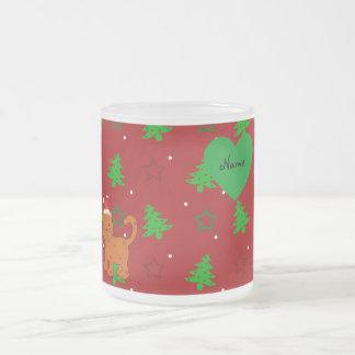Personalized name santa cat red christmas trees mugs