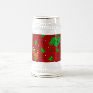 Personalized name santa cat red christmas trees mug