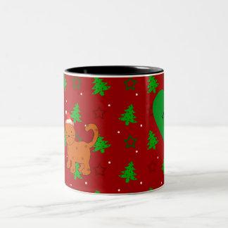 Personalized name santa cat red christmas trees coffee mug
