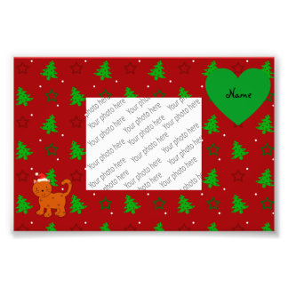 Personalized name santa cat red christmas trees photo