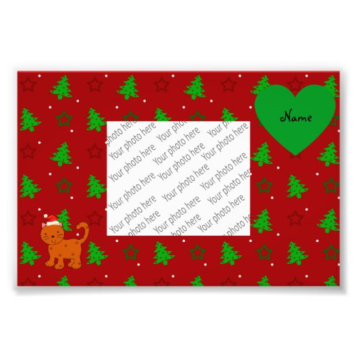 Personalized name santa cat red christmas trees photographic print