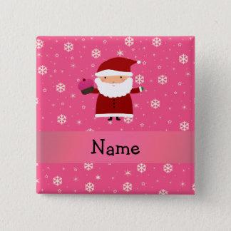 Personalized name santa cupcake pink snowflakes 15 cm square badge