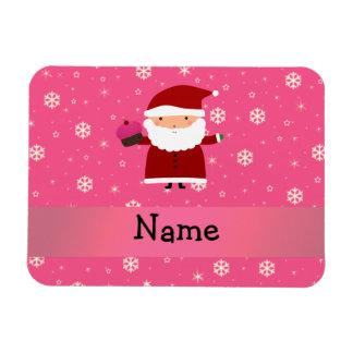 Personalized name santa cupcake pink snowflakes rectangular photo magnet