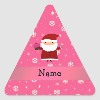 Personalized name santa cupcake pink snowflakes stickers