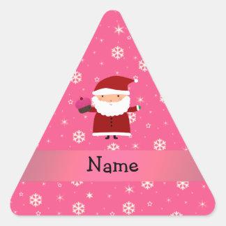 Personalized name santa cupcake pink snowflakes stickers