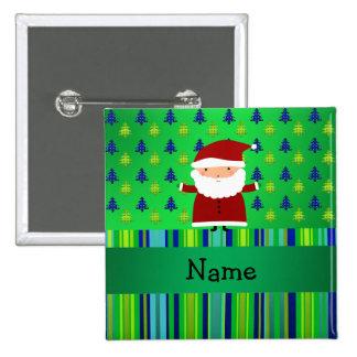 Personalized name santa green blue christmas trees 15 cm square badge