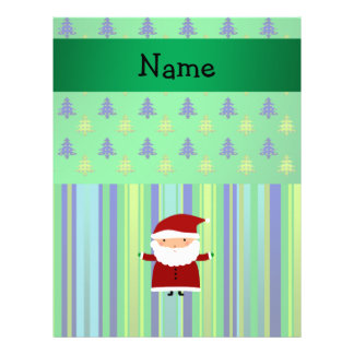 Personalized name santa green blue christmas trees 21.5 cm x 28 cm flyer