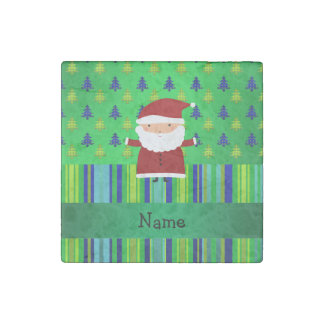 Personalized name santa green blue christmas trees stone magnet