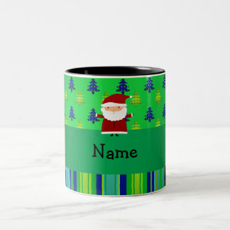 Personalized name santa green blue christmas trees Two-Tone coffee mug