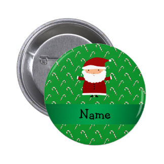 Personalized name santa green candy canes 6 cm round badge