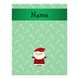 Personalized name santa green candy canes 21.5 cm x 28 cm flyer