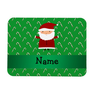Personalized name santa green candy canes rectangular photo magnet