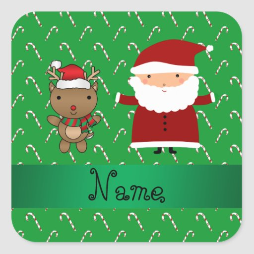 Personalized name santa green candy canes square sticker