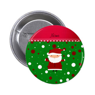 Personalized name santa green red white polka dots 6 cm round badge
