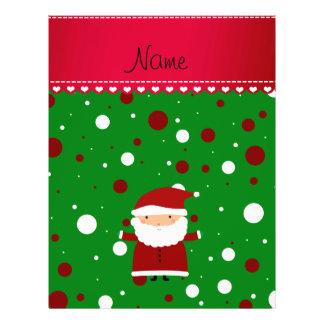 Personalized name santa green red white polka dots custom flyer