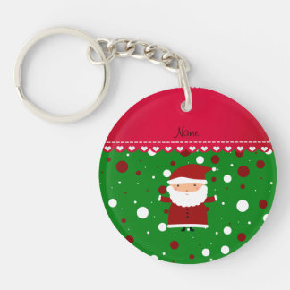 Personalized name santa green red white polka dots keychain