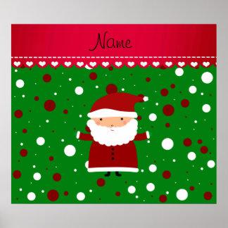 Personalized name santa green red white polka dots print