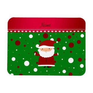 Personalized name santa green red white polka dots rectangular photo magnet