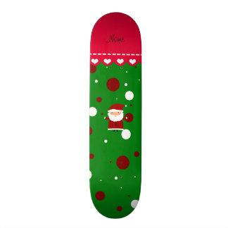 Personalized name santa green red white polka dots skate decks