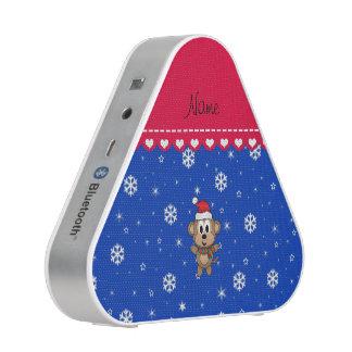 Personalized name santa monkey blue snowflakes speaker