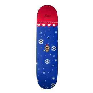Personalized name santa monkey blue snowflakes custom skate board
