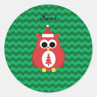 Personalized name santa owl green chevrons round sticker