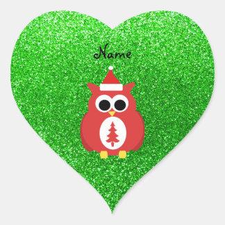 Personalized name santa owl green glitter heart stickers