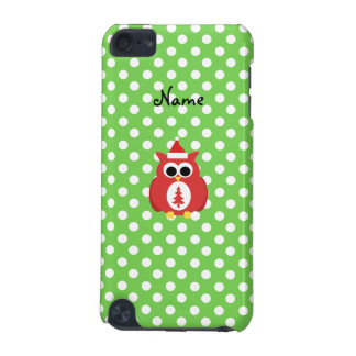 Personalized name santa owl green polka dots iPod touch (5th generation) cases