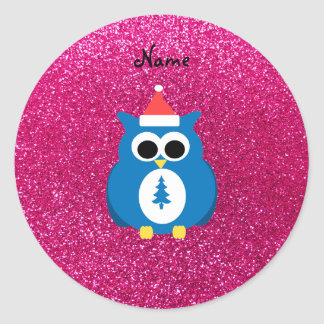Personalized name santa owl pink glitter stickers