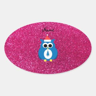 Personalized name santa owl pink glitter oval sticker