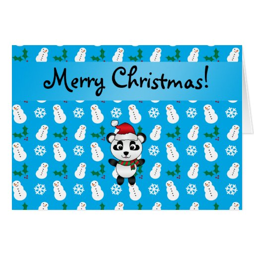 Personalized name santa panda bear blue snowman greeting card